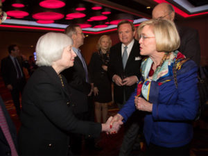With Federal Reserve Chair Janet Yellen, 2014