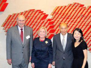 With Japanese Ambassador Kenichiro Sasae and Madam Nobuko Sasae, after donating Hamadryad Watergate sculpture to the Japanese Embassy, 2015